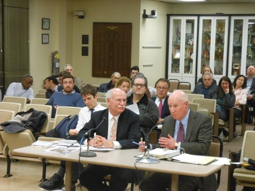 Planning engineer Peter Steck (left ) testifies at the Montclair Planning Board about a planned mixed-use building on Lorraine Avenue.  Attorney Neal Zimmerman is with him.