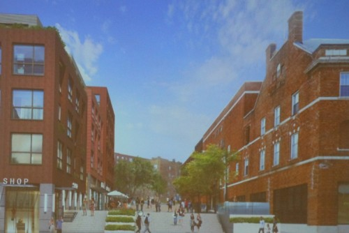 A rendering of the proposed Seymour Street plaza in the daytime.