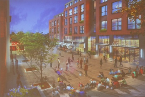 A rendering of the proposed Seymour Street plaza at night.