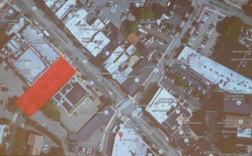 The footprint of the proposed Seymour Street plaza, shown in red.