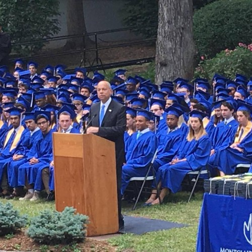 U.S. Secretary of the Department of Homeland Security Jeh Johnson gives commencement address.