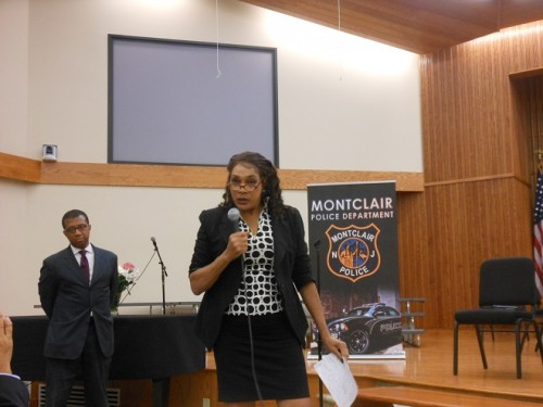 Montclair Fourth Ward Councilor Renée Baskerville speaks out at the July 18 police forum. Moderator Jim Johnson is in the background.