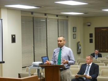Tom Brown of Nelson Nygaard presents his consulting firm's parking study to the Montclair Township Council.