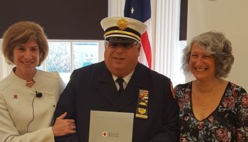 Pictured l-r:  Gail McGovern (President & CEO of the American Red Cross)  -       Fire Official John Thomas  -       Jocelyn Gilman (Executive Director of the American Red Cross Northern NJ)