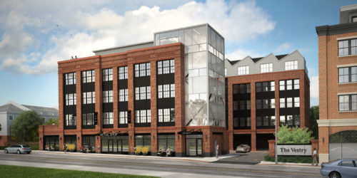 An artist's rendering of the Vestry mixed-use building on Bloomfield Avenue, from the southeast corner.