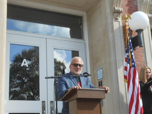 Buzz Aldrin addresses the dedication ceremony for the renaming of Mount Hebron Middle School in Montclair in his honor.