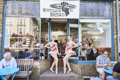 September 21, 2016: During the media tour for the Radio City Christmas Spectacular, the Rockettes meet with fans and hand out their peppermint candy cane donut at the Montclair Bread Company in Montclair, NJ.