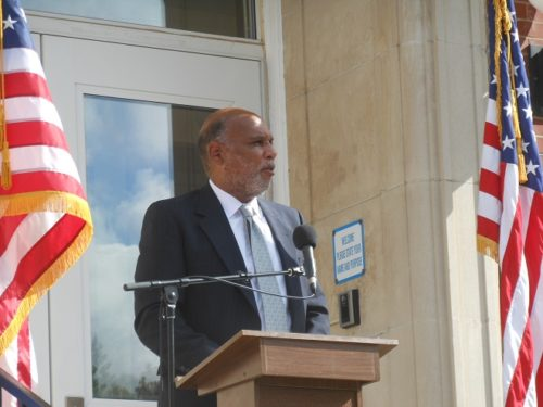 Montclair Mayor Robert Jackson speaks at the ceremony of the renaming of Mount Hebron Middle School for Buzz Aldrin.