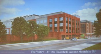 An artist's rendering of the Vestry mixed-use building from the southwest corner.