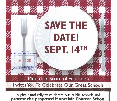 Reminder: Picnic/Rally To Support Montclair Public Schools and Oppose Charter Today, 9/14