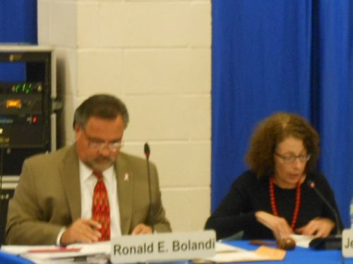Montclair Interim Schools Superintendent Ronald Bolandi and Montclair Board of Education President Jessica de Koninck