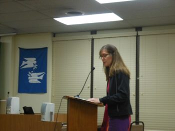 New Jersey Bike and Walk Coalition Executive Director Cindy Steiner addresses the Montclair Township Council.
