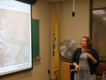 Traffic engineer Janet Sharkey goes over traffic-calming proposals for the Montclair Township Council.