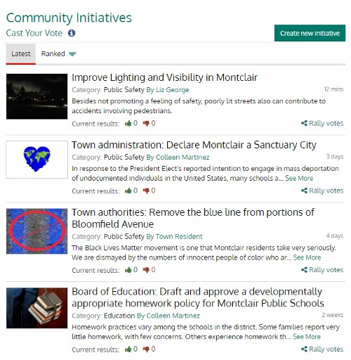 Some proposed community initiatives for Montclair posted to PLANETCIVIC and awaiting votes.