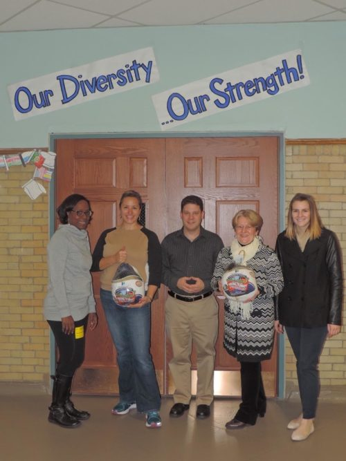 Pictured from left to right: Erica Mitchell – Parent Co-Chair Nishuane School food Drive, Karen Andes – President, Nishuane School PTA, Evan Kozak, Assistant Principal, Nishuane School, Maria Kosmider – CSBK Community Banking Specialist, Luise Young – CSBK Marketing Assistant