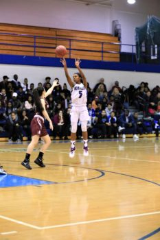 Senior Alisa Wiggins (3) shoots a jump shot during Montclair's 43-36 setback to Bloomfield last Friday, Dec. 17. Photo courtesy of Jeff Gaskin.