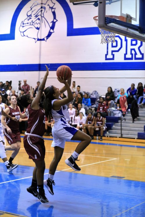 Montclair High senior Jill Jennings goes up for a layup during the Mounties' 43-36 defeat to Bloomfield Friday night. Courtesy of Jeff Gaskin.