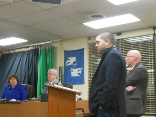 Vestry developer David Genova (second from right) with his attorney, Neal Zimmerman, confer at the January 9 Montclair Planning Board meeting while Planning Director Janice Talley and board attorney Arthur Neiss listen.