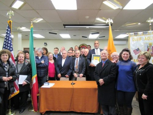 Mayor Robert Jackson and the Montclair Township Council with friends and supporters of the successful effort to establish a sister-city relationship with Aquilonia, Italy.