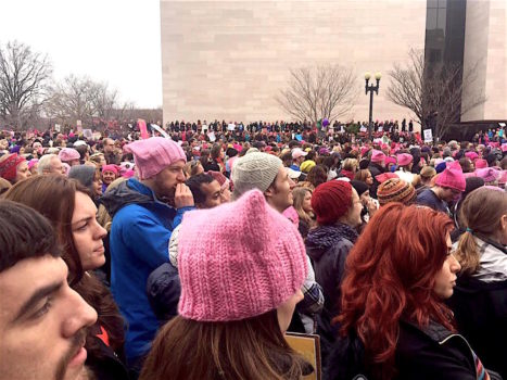 Womens March DC 1-21-17 - crowd scene, pink hats