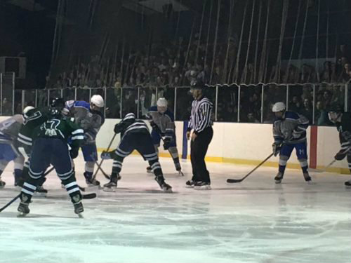 A packed Clary Anderson Arena watches a faceoff during Friday's hockey game between Montclair High and MKA, which ended in a 2-2 tie.