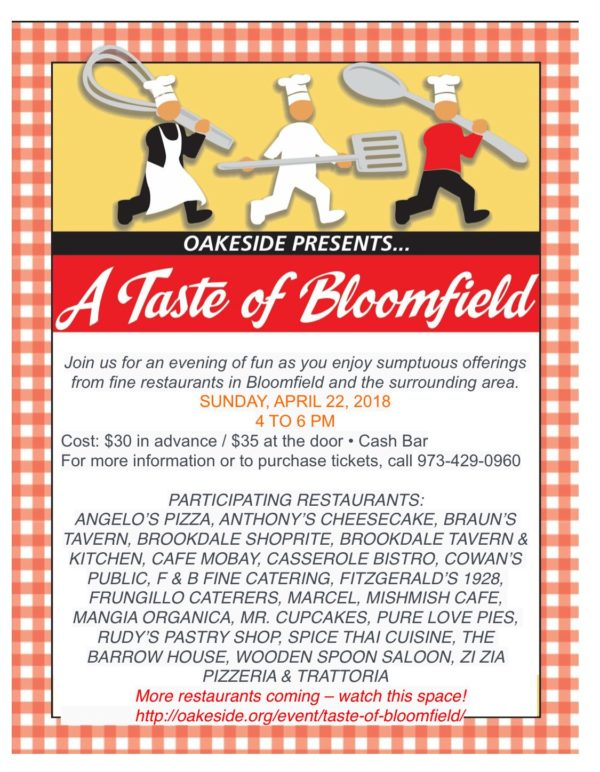 The event, which is organized by Oakeside Bloomfield Cultural Center,  offers a full array of culinary delights including Thai, Greek, Southern,  Jamaican, ...