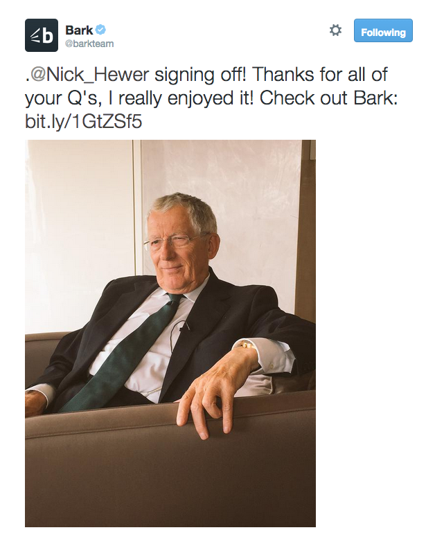 Nick Hewer end of Q&A
