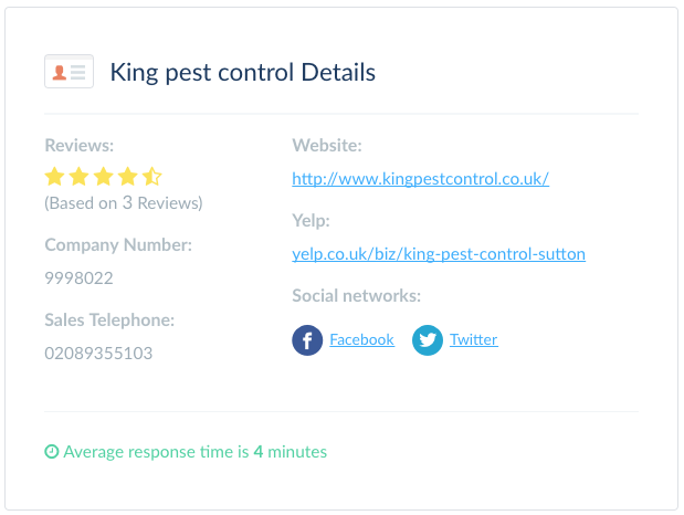 King Pest Control response time