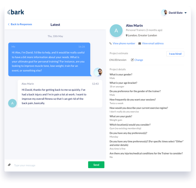 Screenshot of Bark messenger feature