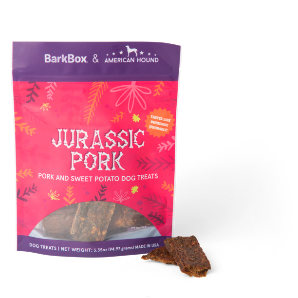 Photograph of BarkBox's Jurassic Pork product