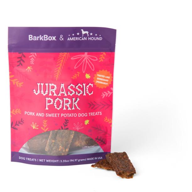 Photograph of BarkBox's Jurassic Pork product