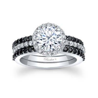 black diamond bridal set - Black Wedding Ring Sets