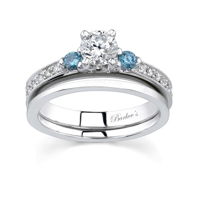 white blue diamond bridal set - Blue Diamond Wedding Ring Sets