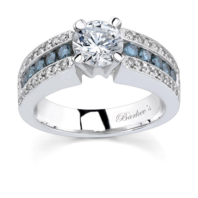 white gold engagement ring with white blue diamonds 6638lbd - Blue Diamond Wedding Rings