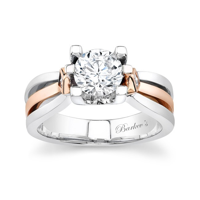 White & Rose Gold Engagement Ring - 6682L