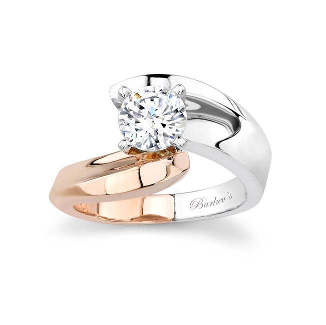 white rose gold solitaire engagement ring - Rose Gold And White Gold Wedding Rings