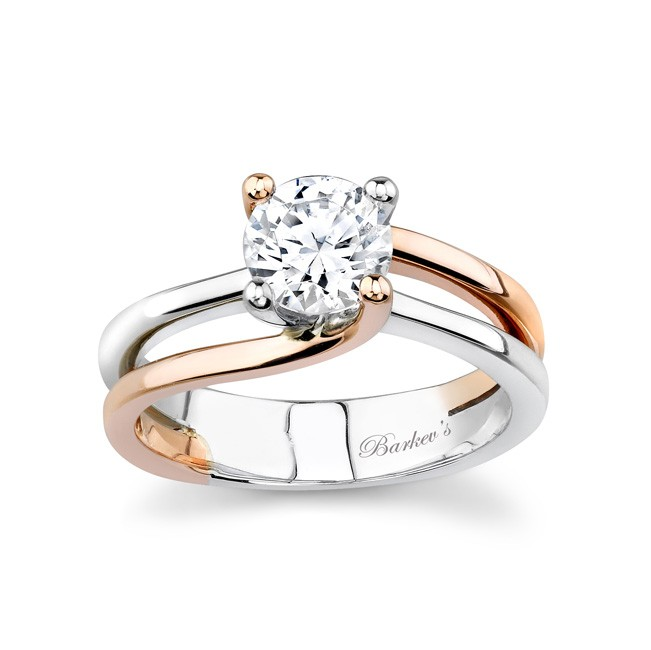 White & Rose Gold Solitaire Engagement Ring