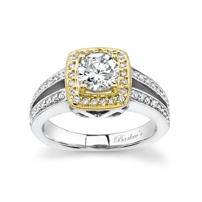 Two Tone Engagement Ring - 6978L