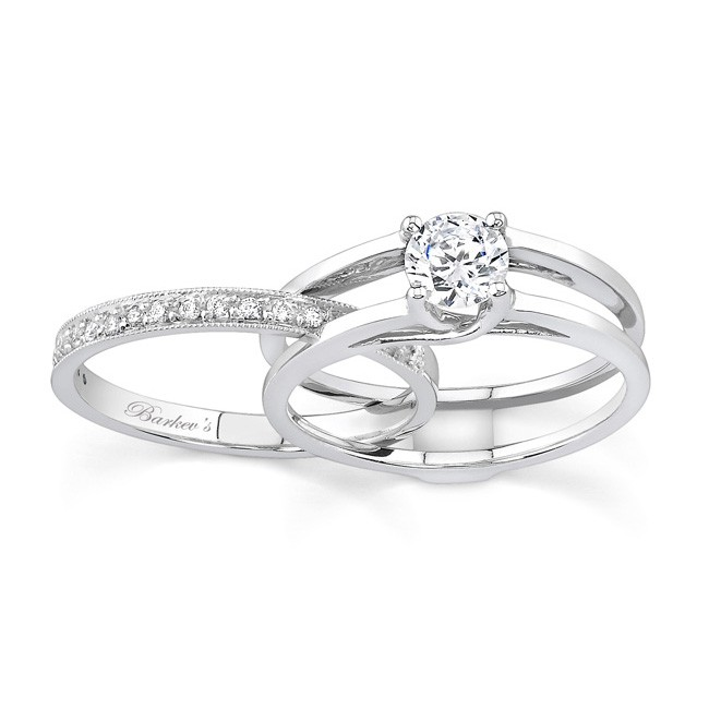 white gold diamond engagement ring set 7145s - Engagement Wedding Ring Sets