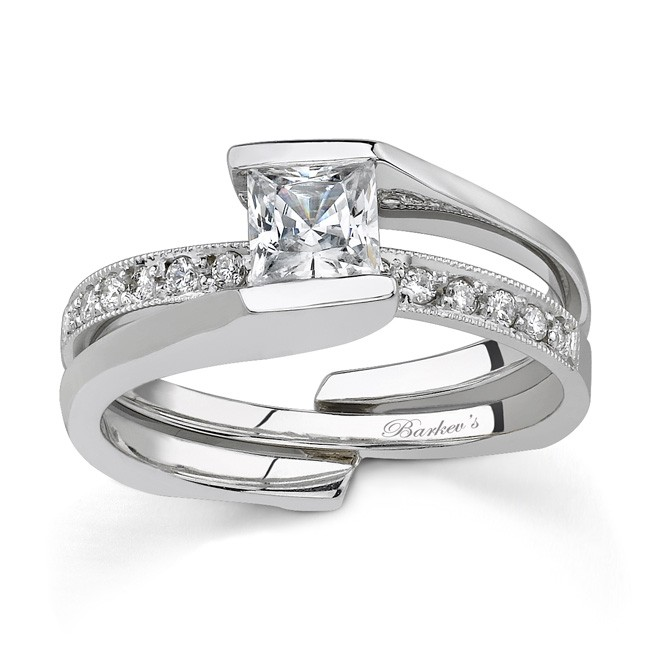 white gold diamond engagement ring set 7154s - Unique Wedding Ring Set
