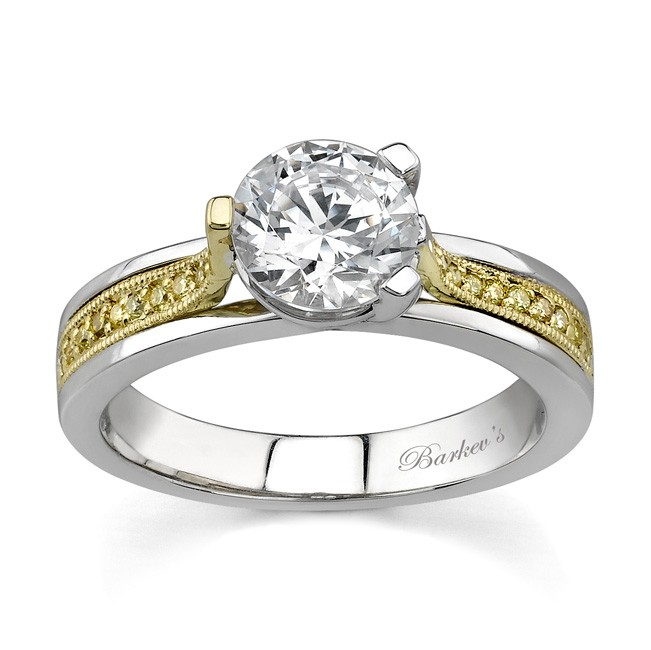 Two Tone Engagement Ring With Yellow Diamonds - 7214LY
