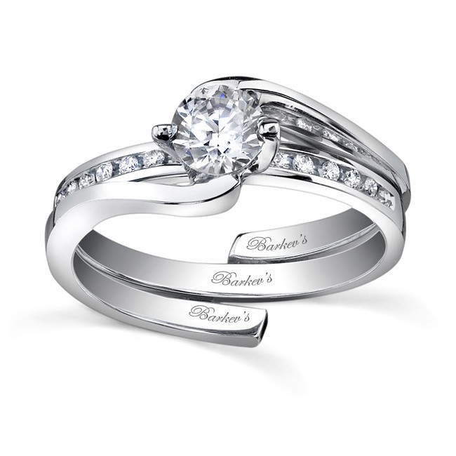 white gold diamond engagement ring set 7493s - Interlocking Wedding Rings