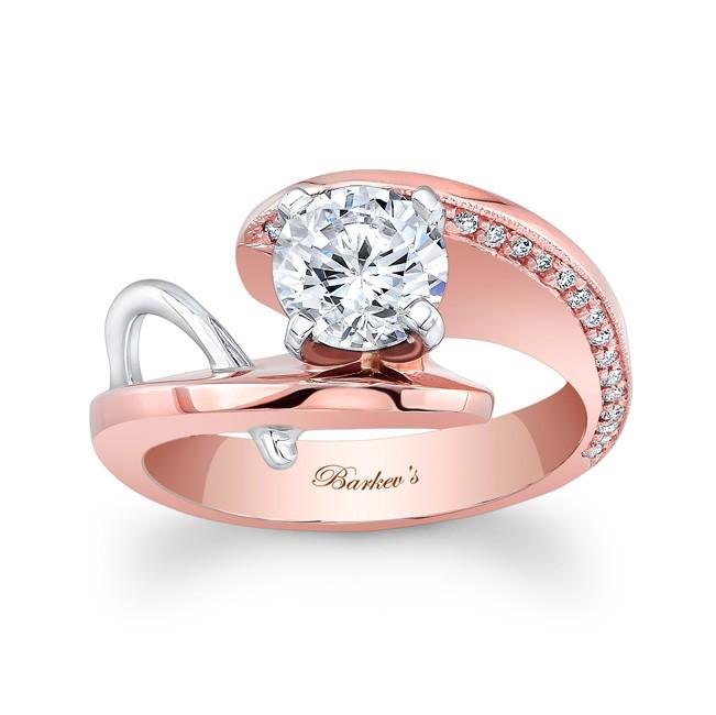 Barkevs Rose White Gold Engagement Ring 7619LT