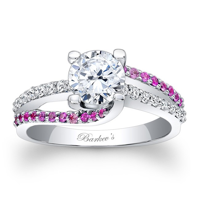 Barkev39s engagement ring with pink sapphires 7677lps for Wedding rings with pink