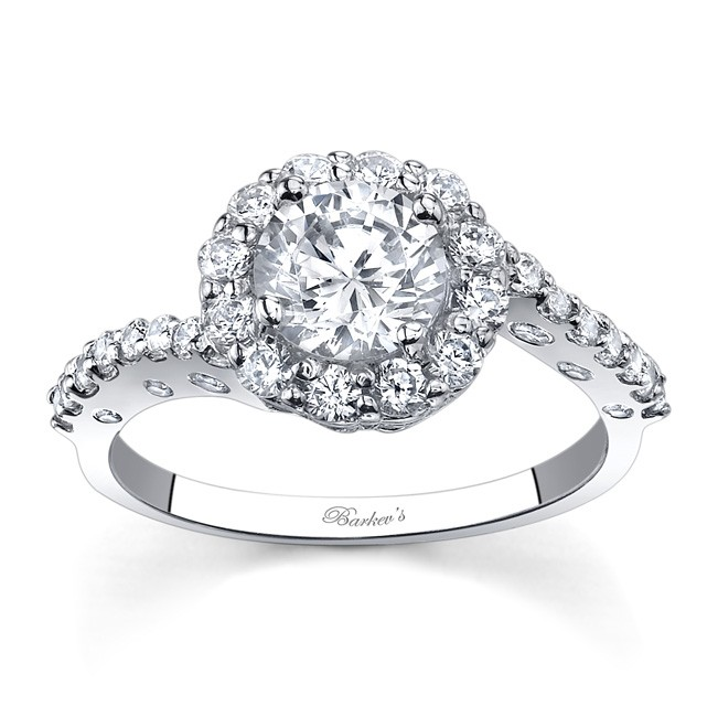 Barkev s White Gold Halo Engagement Ring 7787L
