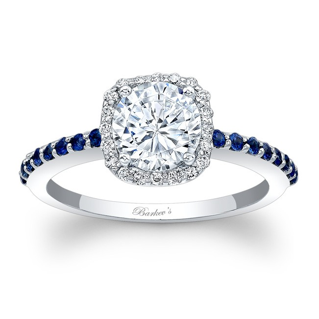 Barkevs Halo Engagement Ring With Blue Sapphires 7838LBS