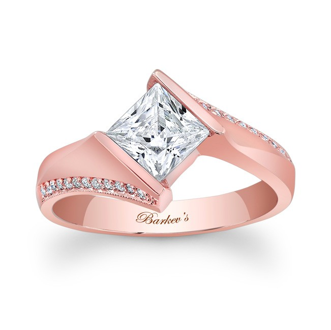 Barkevs Rose Gold Princess Cut Engagement Rings 7840LP