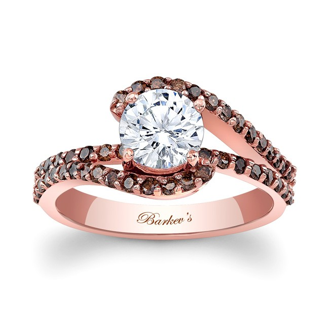 barkevs rose gold engagement ring with champagne diamonds