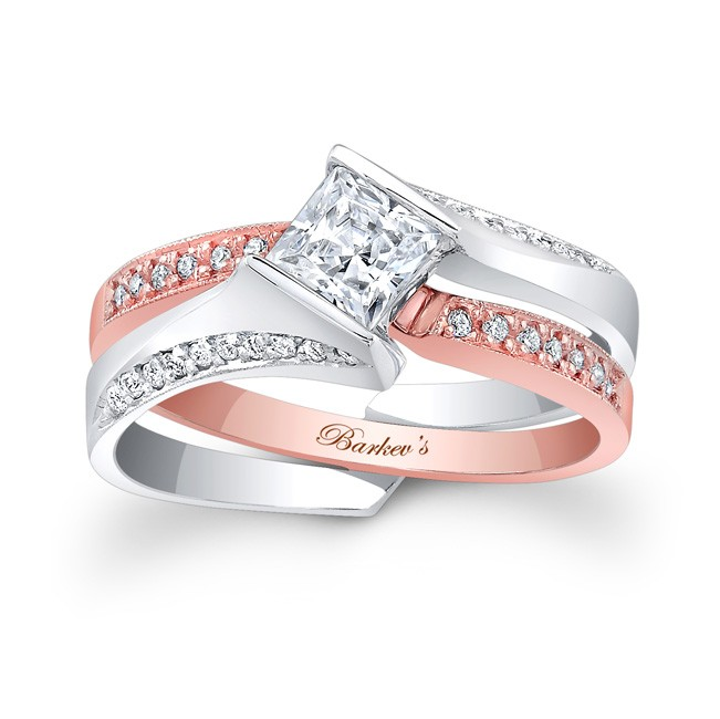 rose white gold bridal set 7880st - Rose Gold Wedding Ring Set