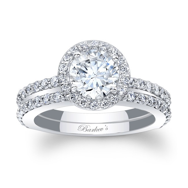 halo bridal set - Halo Wedding Ring Set